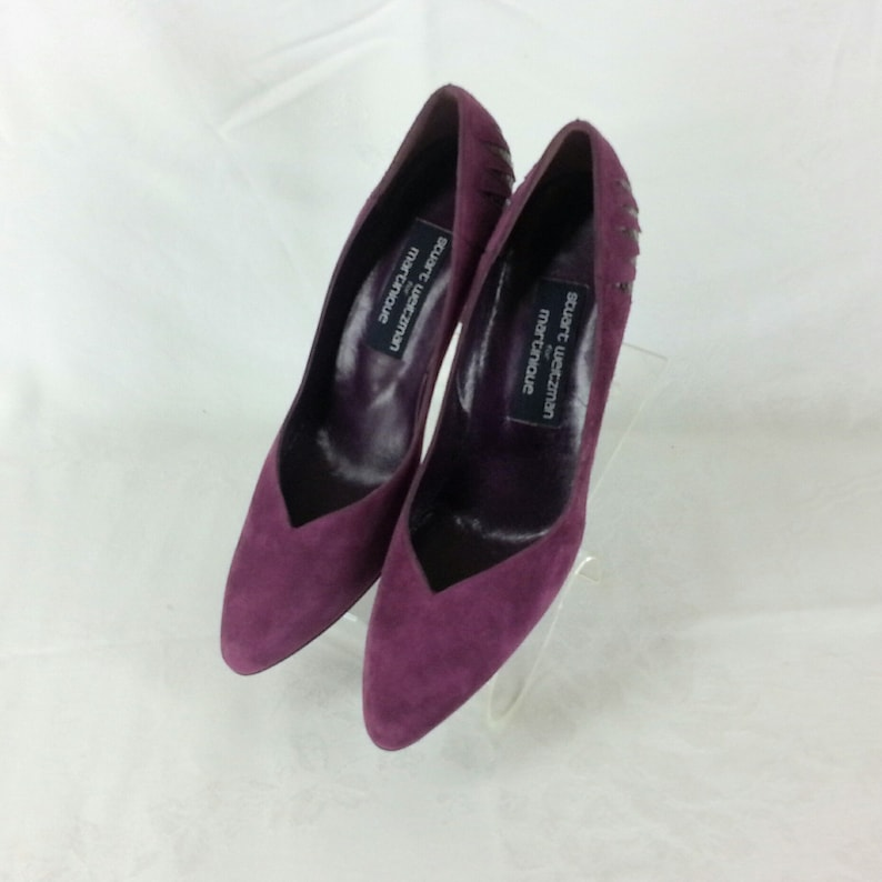 11a4cdf6db6a4 Vintage 80s Burgundy suede leather pumps shoes size 9aaa narrow