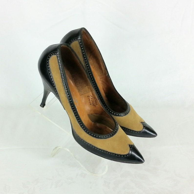 9ae40a07b136 Vintage 50s spectator stiletto heels shoes leather suede