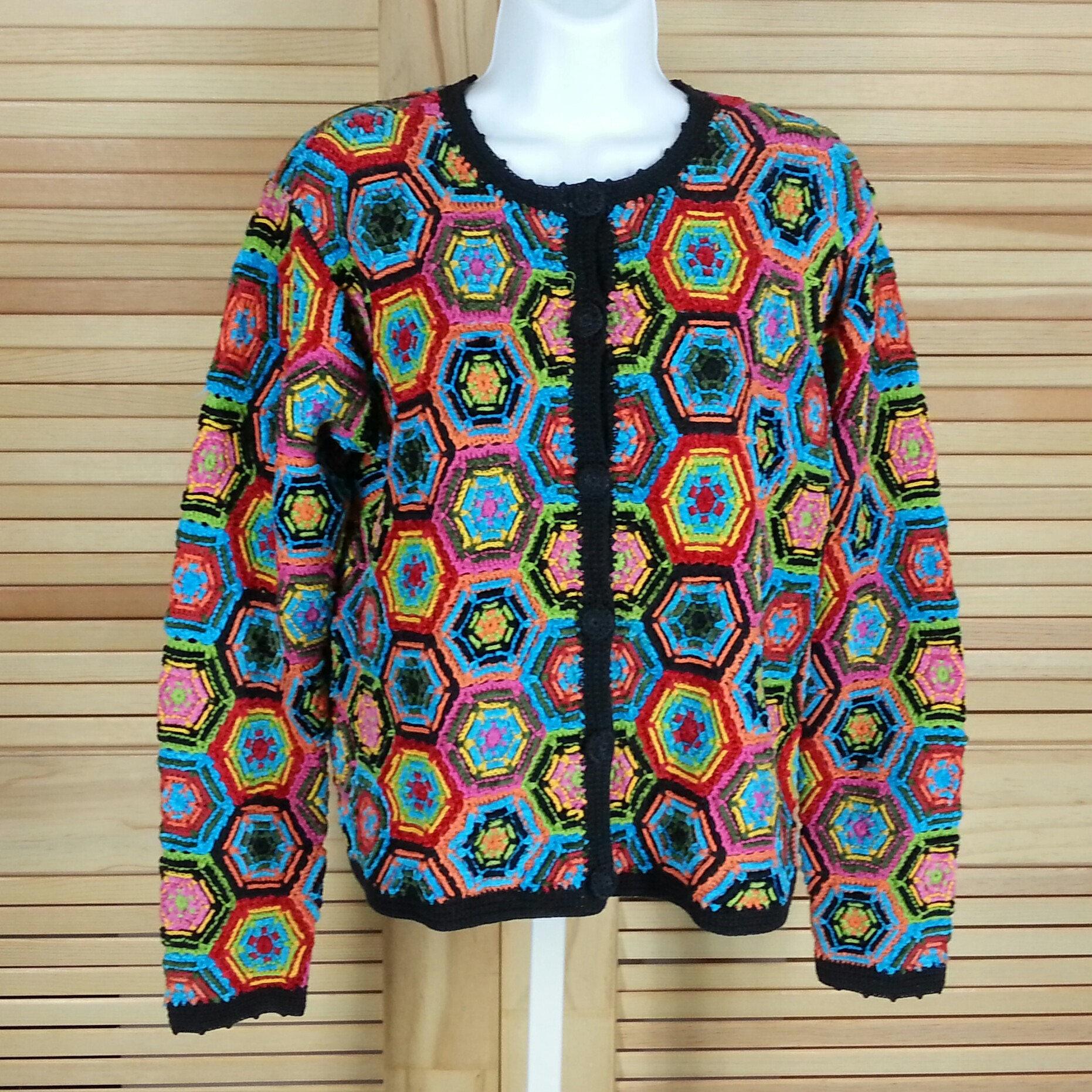 Vintage 90s Berek 2 Crochet Hexagon Sweater Cardigan Multi Etsy