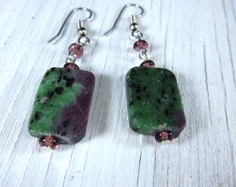 RUBY ZOISITE Earrings - Anyolite Drop Earrings -Stone