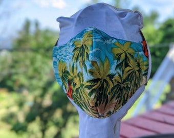 Fitted Facemask Face mask Cotton Ties Elastic Adjustable Two layer Hawaiian nose wire Filter pocket
