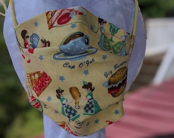Child Face mask Kids Small Two layer Cotton Ties Elastic Adjustable Diner fabric