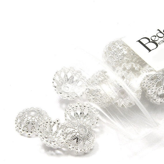 10 Silver Plated Brass 8mm Filigree Dome Earstuds with Loop