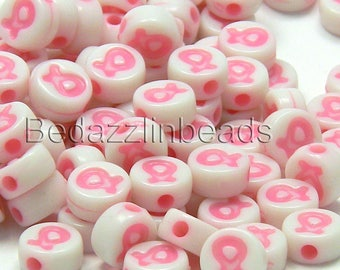 50 Plastic Acrylic Pink Ribbon Breast Cancer Awareness 8mm Round Coin Beads