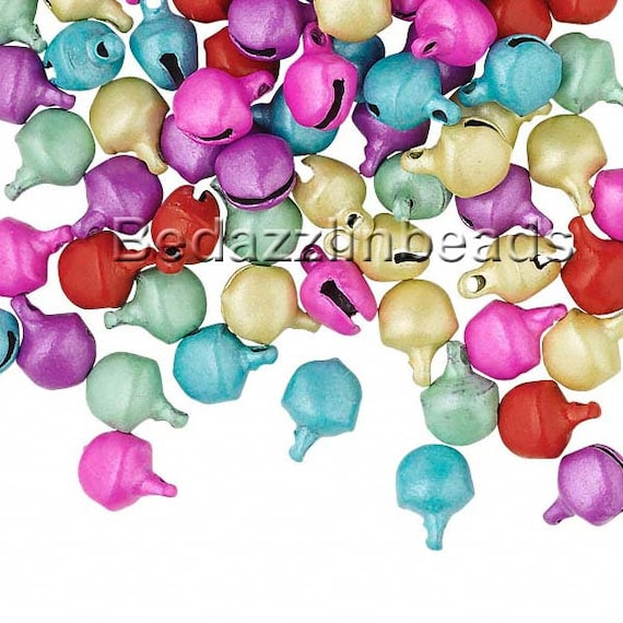Lot of 100 10mm 3//8 inch Steel Craft Jingle Bells With Loop Use as Dangle Charms