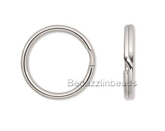 20 Surgical Stainless Steel 12mm Round Double Loop S Split Ring Jewelry Findings