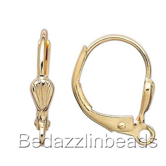 10 Gold 14K Plated Leverback Shell Loop Ear Hooks Earring Findings