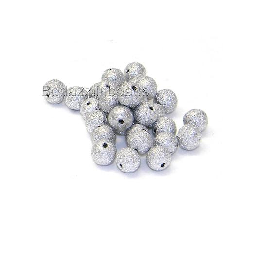 6mm 10mm 8mm Silver plated glitter stardust brass beads 4mm