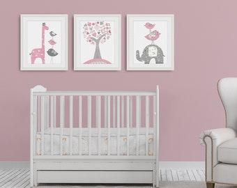 Pink and gray Girls Nursery Wall Art, Baby Girl nursery, Giraffe Nursery, Elephant nursery, Set of three prints