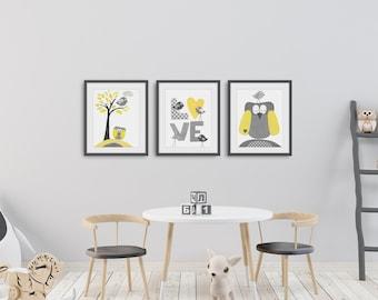 Boy room decor yellow gray -  baby nursery decor - Baby shower gift - children art kids wall art - bird Tree love Set of three prints