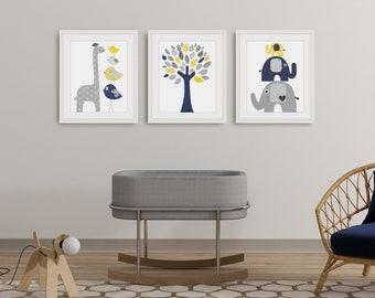 Navy blue yellow and gray Nursery art Animal, Nursery Wall Art, Baby boy room decor, Elephant nursery, giraffe Nursery, Set of 3 prints
