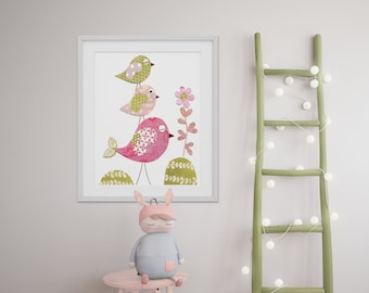 Bird nursery Art for Children nursery decor - baby nursery print - kids art - kids room decor - nursery wall art Tendresse print