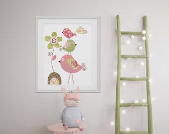 Bird nursery Pink Kids wall art- nursery art- nursery decor- baby nursery print- kids room decor- nursery wall art- Tendresse print