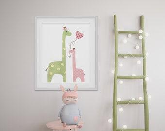 Giraffe nursery - I Love You Mommy print Nursery art print nursery decor - baby nursery - kids art - kids room decor - nursery wall art