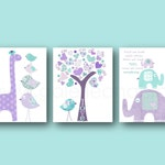 Turquoise and purple Baby Girl's room Decor nursery art - Quote First we had each other tree elephant Giraffe Home Decor -  Set of 3 Prints