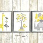 Baby room Decor Yellow and gray nursery Baby boy nursery decor baby girl nursery art elephant nursery giraffe Tree - Set of three prints