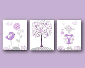 Purple and Gray Nursery Decor Baby Girl Nursery Art Baby Girl Decor Owl Nursery Bird Tree Children Art Toddler Nursery art Set of 3 prints