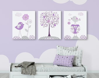 Nursery Canvas Wall Art Decor, Purple and Gray Set of 3 canvases