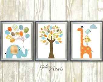 Nursery Art Elephant Nursery Decor Giraffe art print balloon tree blue green orange nursery Wall Art set of three prints