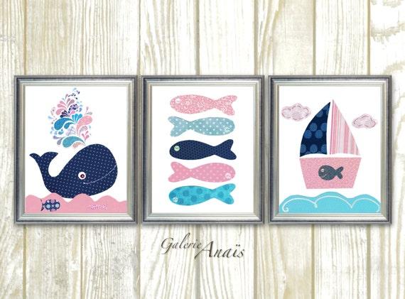Bleu Marine Et Rose Chambre Pépinière Nautique Art Baleine Etsy