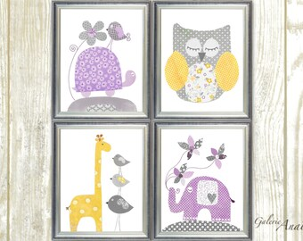 Purple yellow and gray Nursery Decor girl nursery wall art kids room decor Turtle Owl giraffe nursery elephant nursery Set of 4 prints