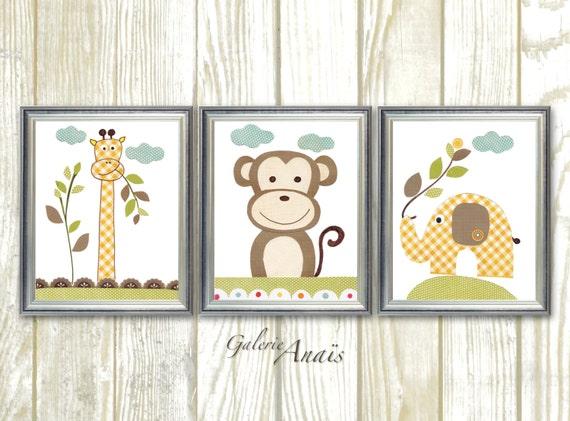 jungle nursery wall art monkey nursery art elephant nursery etsy