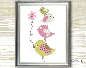 Pink and green nursery - childrens art print - kids room decor - girls room decor - nursery bird - kids bird - kids art - Douceurs