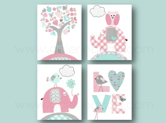 Baby Girl Nursery Decor Pink Turquoise And Gray Nursery Art Etsy