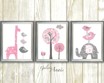 Nursery wall art Animal, Nursery Wall Art Girl, Baby Girl Nursery Decor, Pink and gray nursery wall Set of 3 prints
