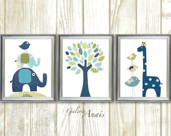 Baby Boy nursery decor kids room decor Bird elephant tree giraffe blue green navy baby room decor  Set of 3 prints