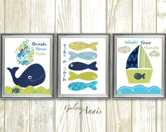 Nautical Nursery Wall Art Bathroom art Take a bath Brush Wash Nursery art whale nursery Boat fish blue navy green Set of three  prints