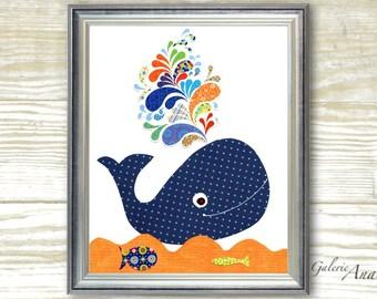 Whale Nursery art prints - Boy nursery decor - bathroom wall art nursery - kids art - Whale - navy blue - orange - ocean