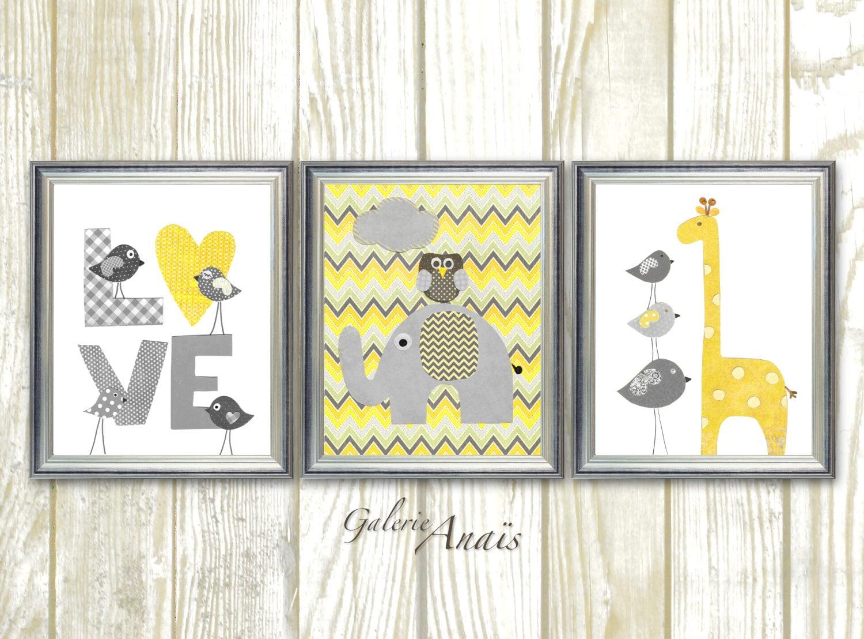 Grey yellow chevron Nursery art baby nursery decor nursery | Etsy
