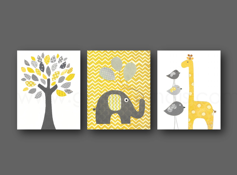 Yellow and gray Chevron Nursery decor Home Décor baby Boys | Etsy