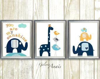 Navy Blue orange, baby boy nursery decor, kids art, elephant nursery, birds giraffe, nursery wall art, Set of 3 prints, You are My Sunshine