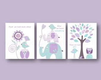 Purple aqua Nursery art baby girl art nursery decor nursery wall art kids wall art owl nursery elephant nursery tree Set of 3 Prints