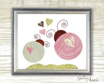 Baby Nursery Art - Kids Room Decor - baby nursery wall art - nursery girl room - Ladybug - Lovebugs print