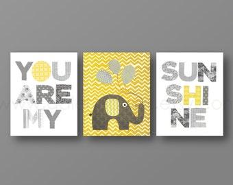 Grey yellow chevron Nursery art baby nursery decor nursery wall art Kids art elephant words Set of 3 Prints You Are My Sunshine