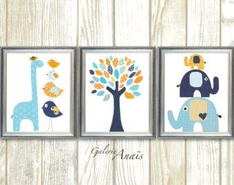 Orange blue navy baby art nursery decor nursery art Bird elephant tree giraffe kids wall art Set of 3 prints
