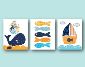 Nautical nursery decor wall art whale nursery bathroom art Boat fish orange navy Blue nursery ocean sea bathroom decor - Set of 3 prints