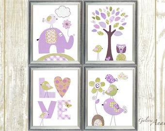 Baby Girl Nursery Decor Purple green Nursery Art Kids wall Art Children's art elephant nursery Birds heart tree love Set of 4 prints