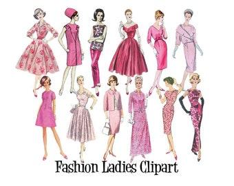 Clip Art 50er 60er 70er Jahre Herren Nahen Muster Vintage Mode Etsy