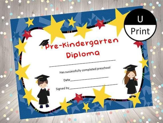 pre kindergarten graduation child kid diploma certificate etsy
