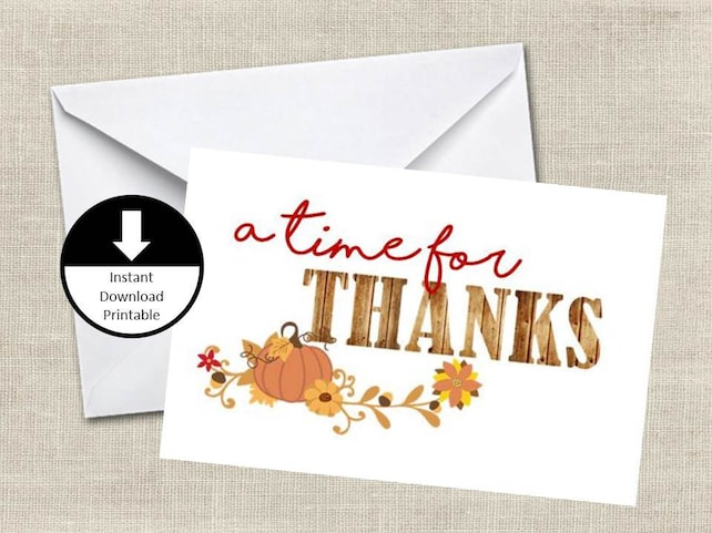 Thanksgiving Card Holiday Card A Time For Thanks Blank Card Simple Modern PDF Jpeg Printable Digital Instant Download Printable