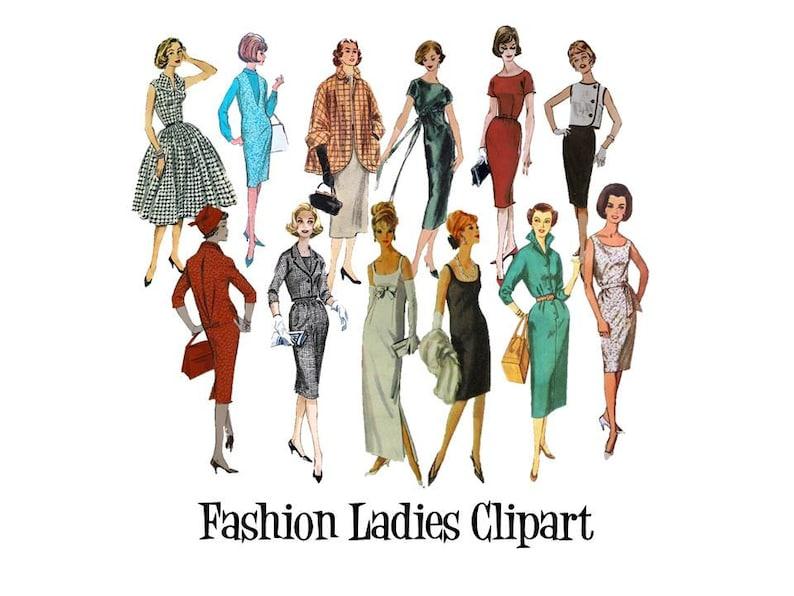 Clip Art 50er 60er Jahre Nähen Muster Vintage Mode Damen Set Etsy
