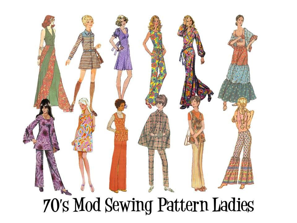 clip art 70 39 s vintage retro mod fashion sewing pattern etsy