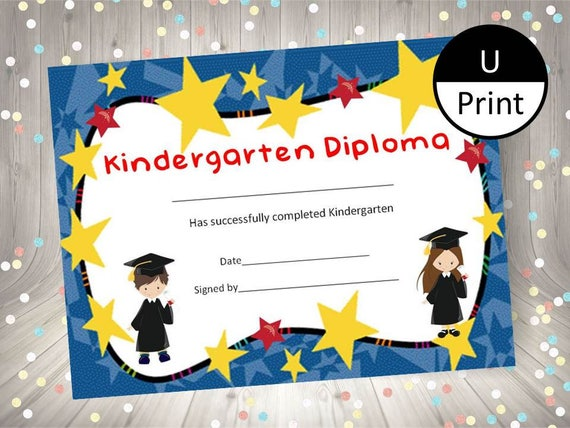 kindergarten graduation child kid diploma certificate award etsy