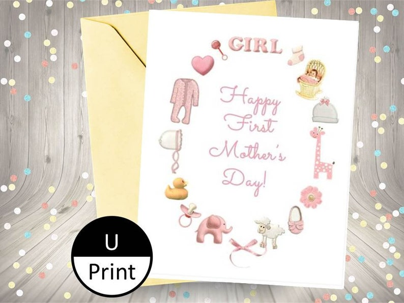 Printable Card Happy First Mothers Day Pink Baby Girl Stuff DIY PDF Jpeg PNG Digital Instant Download
