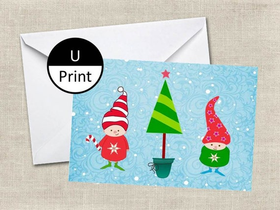 Printable Christmas Holiday Childrens Cute Card Santa's Elves Helpers Blank Inside Digital PDF PNG Jpeg Instant Download