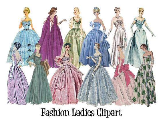 Clipart 50er 60er 70er Jahre Vintage Damen Mode Abendkleid Etsy